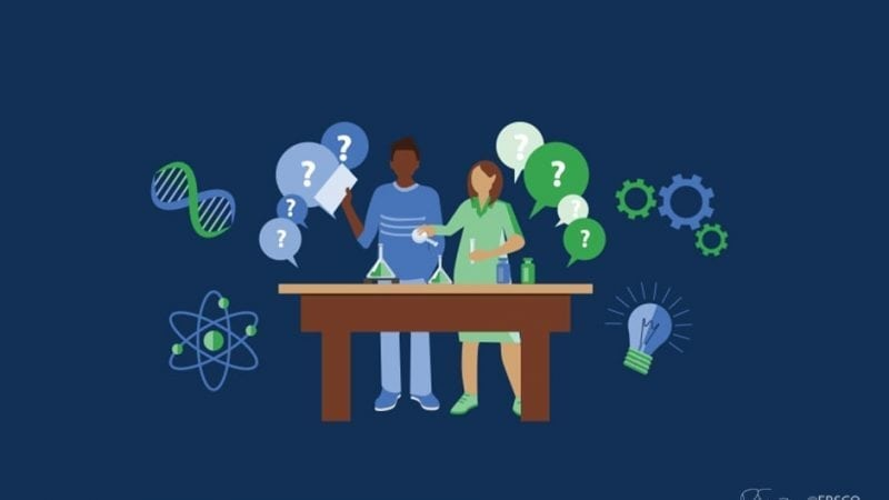 An illustration of two young adults in a science classroom with question bubbles abound.