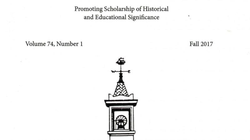 The cover of the New England Journal of History publication.