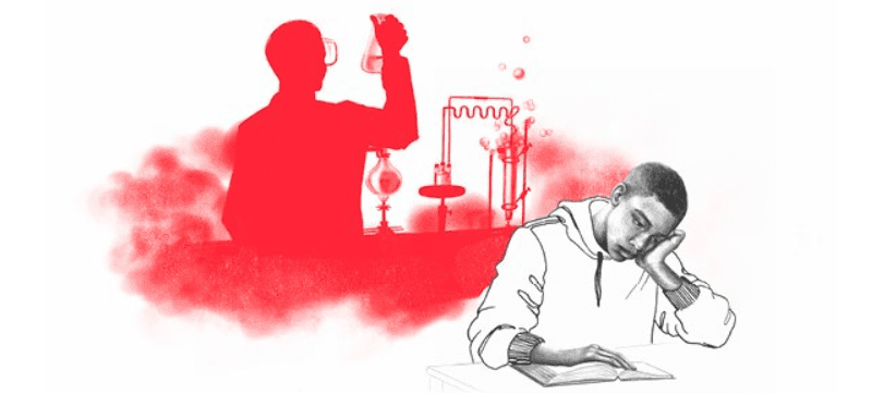 illustration of a student bored staring at a textbook with a shadow behind him of a person working actively in a lab
